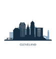 cleveland skyline monochrome silhouette vector image vector image