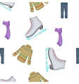 Clothing for winter fun outdoors pattern vector image