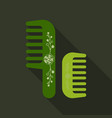 comb hairbrush simple silhouette flat icon with vector image vector image