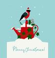 cute christmas card watering can with holly vector image
