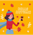 cute girl in warm sweater holding cup hot cocoa vector image vector image