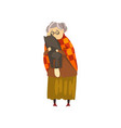 cute granny hugging her black cat lonely old lady vector image
