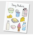 dairy products doodles lined paper colored vector image vector image