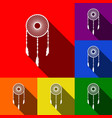 Dream catcher sign set of icons with flat