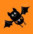 flying bat holding bunting flag boo happy vector image
