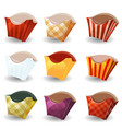french fries box collection vector image