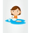 Girl eating breakfast vector image vector image