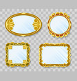 gold decoration mirrors on transparent background vector image