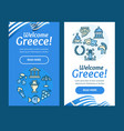 greece banner vertical set with color outline vector image