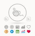 gymnastic ball icon pilates fitness sign vector image