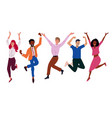 happy business workers jumping celebrating success vector image
