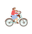 happy mother riding a bicycle with little boy on vector image vector image