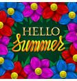 hello summer golden and yellow gradient plastic vector image