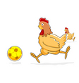 Hen playing with soccer ball