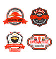 icons for japanese sushi restaurant vector image vector image