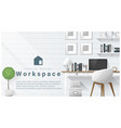 interior design with modern workplace background vector image vector image