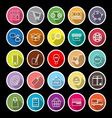 Internet entrepreneur line flat icons with long vector image vector image