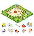 isometric kids playground concept vector image