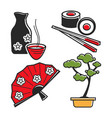 japan culture symbols for travel and famous vector image vector image