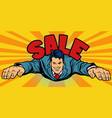 joyful businessman flies sale vector image vector image