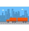Landscape of container truck with city backgrounds vector image vector image