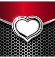 Metal Background With Frame of Heart vector image vector image