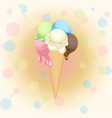multicolor poster - waffle ice cream cone on vector image vector image