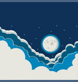 night sky background with full moon and clouds vector image