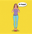 pop art woman making fake smile with her fingers vector image vector image