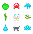primordial icons set cartoon style vector image