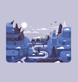 railway at winter night landscape vector image vector image