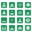 religious symbol icons set grunge vector image vector image