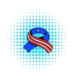 ribbon in usa flag colors icon comics style vector image vector image