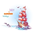 sail ship with label vector image vector image