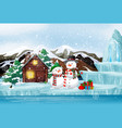 scene with snowman and cottage on christmas day vector image