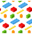 seamless pattern with isometric plastic blocks 3d vector image vector image