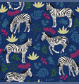 seamless pattern with zebras and plants vector image vector image