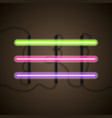 set of realistic colorful neon lights neon light vector image