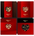 Set of Valentines day cards background with gold vector image vector image