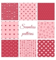 set seamless patterns with hearts vector image vector image