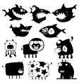 sharks and cows vector image