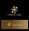 square digital technology gold logo vector image vector image