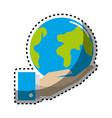 sticker earth planet in the hand icon vector image