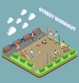 street workout isometric composition vector image vector image