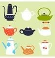 Tea Coffee Season Autumn Winter Kettle Set vector image vector image