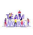 team work letters little people build word vector image