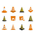 traffic cone icons set isolated vector image