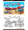 transportation vehicles characters coloring book vector image vector image