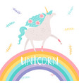 unicorn with flowers and rainbow vector image