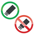 USB stick permission signs set vector image vector image